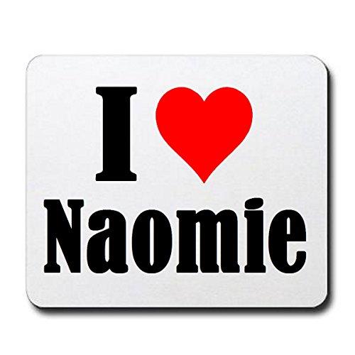 """EXCLUSIVO: Tapete de ratón """"I Love Naomie"""" en Blanco, una gran idea para un regalo para sus socios, colegas y muchos más!- regalo de Pascua, Pascua, ratón, Palmrest, antideslizante, juegos de jugador, cojín, Windows, Mac OS, Linux, ordenador, portátil, PC, oficina, tableta, Amo, Made in Germany."""
