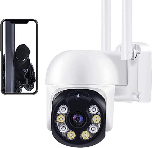Aottom 3MP Camara Vigilancia WiFi Interior Exterior Camara de Video - 360°/ 4X Zoom/ Tuya App/ Detector de Movimiento Alarma/ Audio de Dos Vías/ 40M Visión Nocturna/ Soporta Tarjeta SD MAX 128