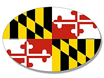 Oval Maryland Flag Pattern Sticker  md Baltimore Native Love