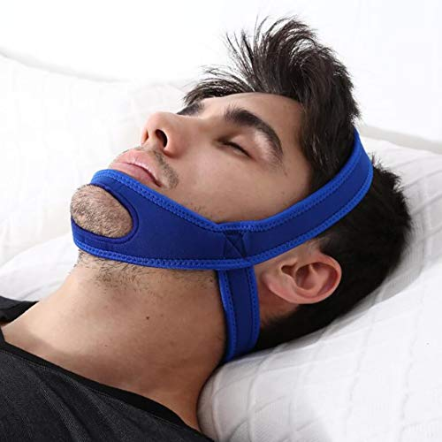 Anti Snoring Chin Strap Breathable Naturally Stop Snoring Device, Adjustable Snore Reduction Belt For Men &Amp; Women,Blue