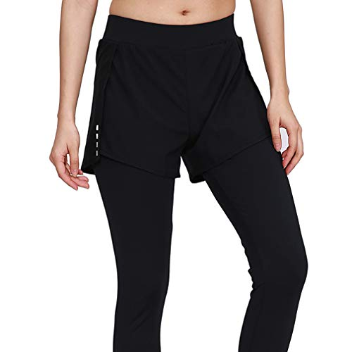 emansmoer Femme Compression Sports 2in1 Fake Two-Piece Fitness Workout Tights Lady Stretchy Gym Yoga Skinny Long Pants(XL, Black)