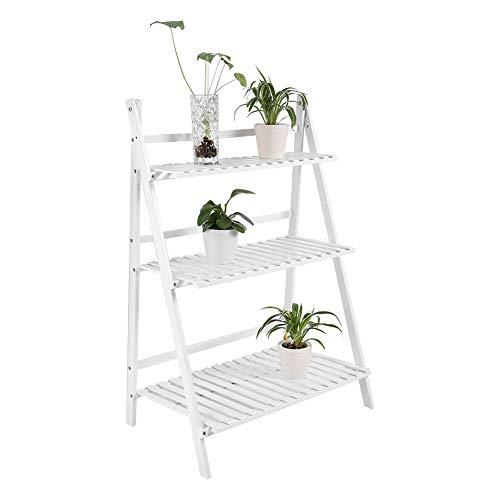 Zerone Étagère à 3 niveaux en bambou pour pots de fleurs, étagère de rangement autonome, étagère pliable en bois pour balcon, jardin, terrasse, salon (Blanc)