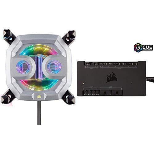 Corsair Hydro X Series XC9 RGB, Bloque de Refrigeración Líquida para CPU (2066/sTR4) - Cromo + Commander Pro