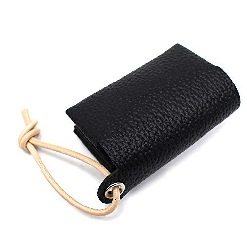 (ルミニーオ) luminio ポケットティッシュケース レザー 携帯用 革紐 日本製 ストラップ付 本革 姫路レザー ティッシュカバー 8colors (ブラック)