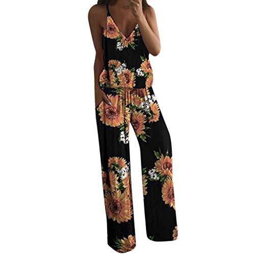 Lulupi Damen Jumpsuit Sommer V Ausschnitt Overall Blumen Ärmellos Lange Boho Floral Playsuit Baumwoll Romper Mit Gürtel Taschen