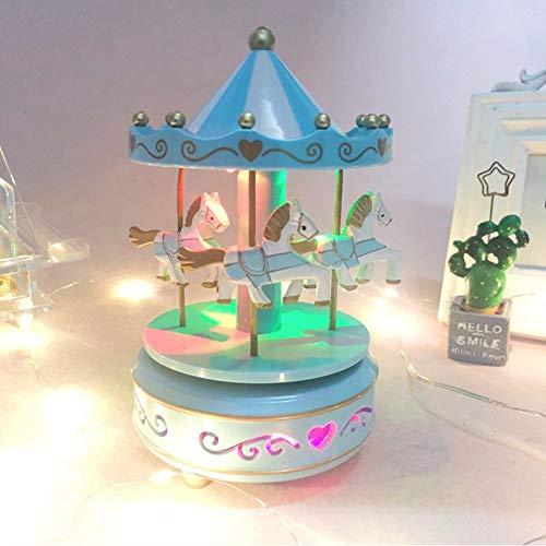 Caja de música de caballo de Carrusel clásica, cajas de música de madera, juguetes para niños, niñas, regalo de Navidad, cumpleaños, boda, caja de música, lámpara de noche, decoración