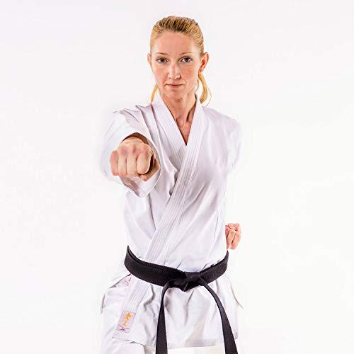 Momoko Damen Karateanzug Joo 14 oz Baumwolle Kata-Anzug Schürbund Hose (160)