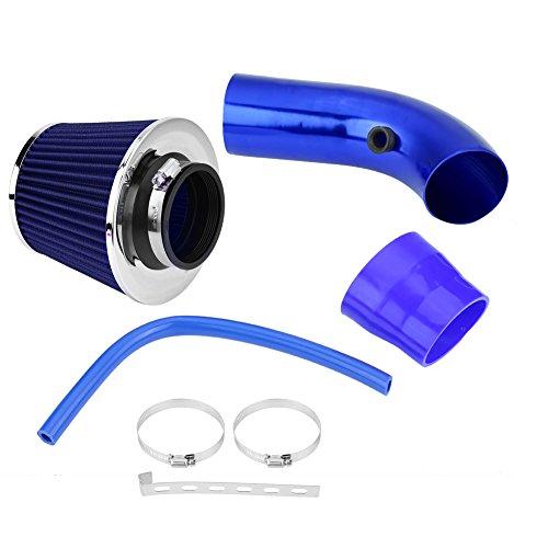 Qiilu 76 mm 3 Pulgadas Universal Filtro de Admisión de Aire Frío del Coche Kit de Tubo de Manguera de Inducción de Aluminio (azul)