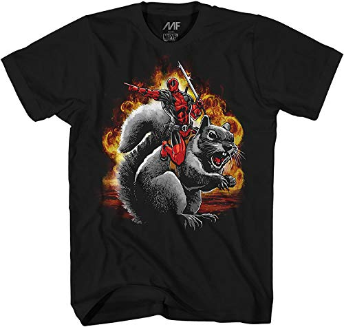 Marvel Deadpool Squirrel Wrangler Funny Adult Mens Graphic T-Shirt (Black, XXX-Large)