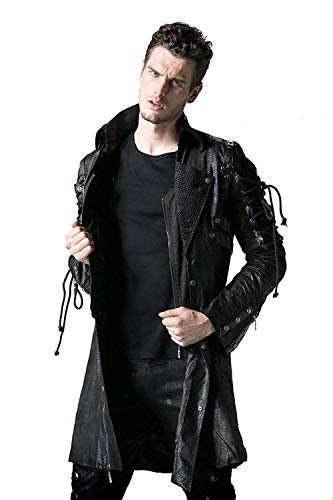Punk Rave Poison Veste Noire Hommes Faux Cuir Gothique Steampunk Manteau Militaire - Noir, XXXXL