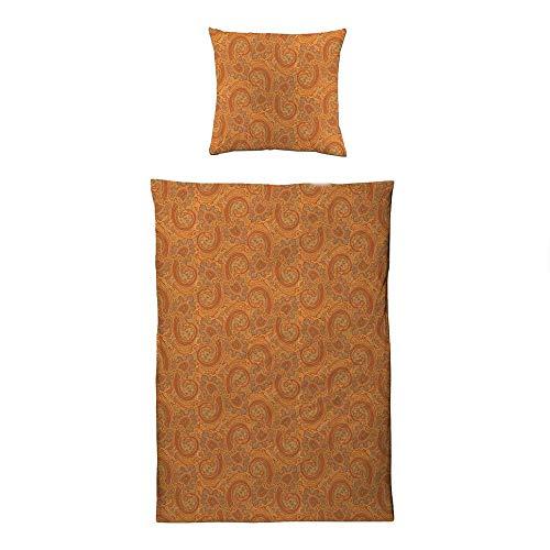 ESTELLA Bettwäsche Orange | 135x200 + 80x80 cm | bügelfreie Interlock-Jersey-Qualität | pflegeleicht und trocknerfest | ideale Vier-Jahreszeiten-Bettwäsche | 100% Baumwolle
