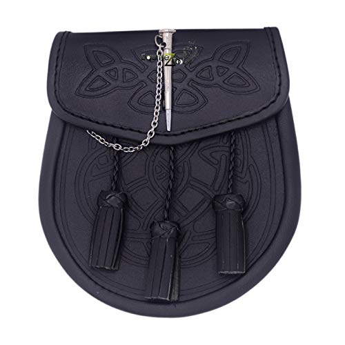 Equinez Tools Celtic Embossed Scottish Black Pin Sporran with Chain and Belt