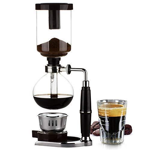 MMEI Cafetière à Siphon (Siphon) de Table avec brûleur, cuillère à café en Plastique, Tissu filtrant et agitateur en Bois (3 Tasses)