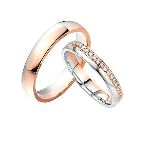 Daesar 18K Gold Ring Band Promise Ring for Her and Him Engagement Rings for Couples Round with 0.12ct Diamond Rings for Men and Women Rose Gold Rings Women Size O 1/2 & Men Size O 1/2