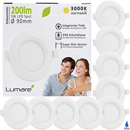 Lumare LED Einbaustrahler 3W 230V IP44 Ultra flach 9er Set Wohnzimmer, Badezimmer Einbauleuchten weiss, 68mm EinbauØ, 29mm Einbautiefe Mini Slim Decken Spot warmweiß