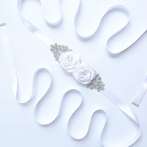 Afrsmw Cinturón para Vestido de Novia Cinturón con Flores Pedrería Cinturón Novia...