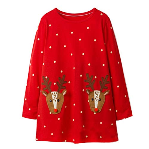 Little Girl Santa Claus Christmas Rain Deer Cotton Long Sleeve Shirt Casual Jersey Tunic Shirt Dress Red