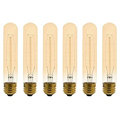 Vintage Incandescent Filament Bulb, Radio Tube, Edison Style, T Type, 60W, 200 Lumens, E26 Medium Base, Dimmable