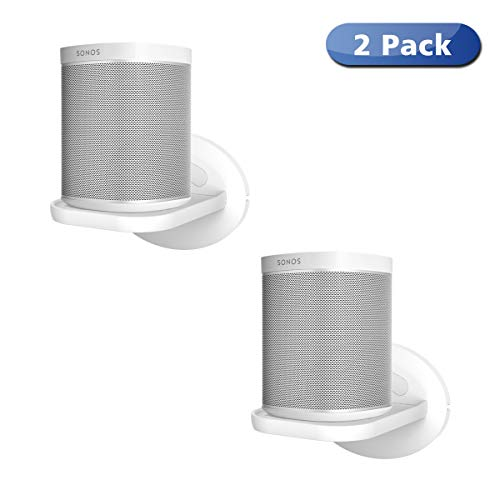 Sonos Speaker Wall Mount Shelf Holder for Sonos One (Gen 2) -Adjustments for Best Audio, Hold up to 15 lbs - White 2 Pack