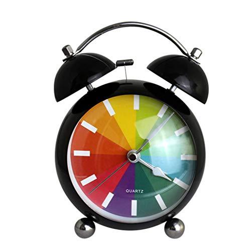 ZHZLX-alarm clock RéVeil MéCanique RéVeil RéVeil Double RéVeil avec Motif Arc-en-Ciel Surface IncurvéE Super Loud DéCoration De La Maison Chambre Table De Bureau Cadeau CréAtif 4,5 Pouces (Blanc)