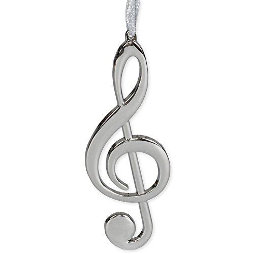 Broadway Gift Silver Treble Clef Music Instrument Replica Christmas Ornament, Size 5 inch