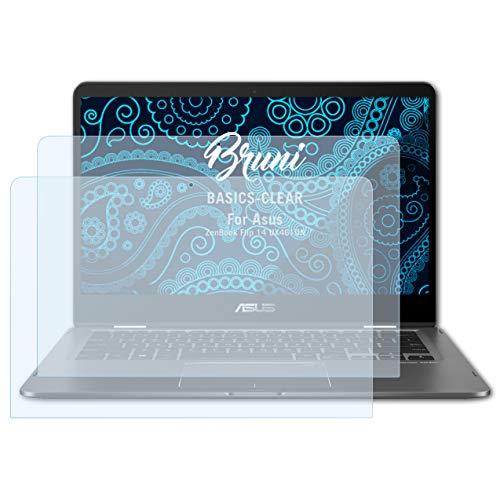 Bruni Schutzfolie kompatibel mit Asus ZenBook Flip 14 UX461UN Folie, glasklare Bildschirmschutzfolie (2X)