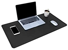Dual Side Usage: Different color in each side, same material for all the mat, special design to use in both side, 2 in 1 desk pad, just turn it over and you can utilize it Easy to Clean: made of heavy-duty and durable PU leather, just use cloth to wi...