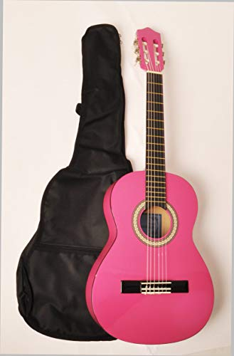 """Price comparison product image Beginner Classical Acoustic Guitar 3 / 4 Size (36"""") Pink w / Free Carry Bag"""