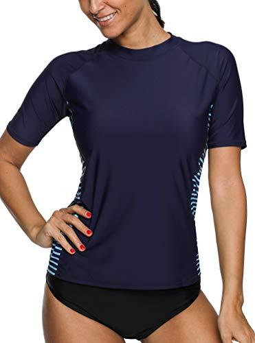 BeautyIn Rash Guard Kurzarm UV-Schutz (UPF) 50+ Schwimmshirt Frauen Streifen Badeshirt Navy L