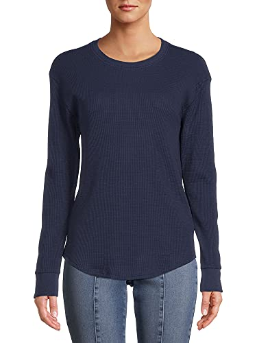 Time and Tru Women's Long Sleeve Thermal Top (Blue, XL)