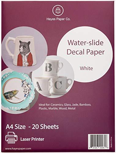 Hayes Paper, Wasserschiebefolie, Aufkleberpapier, LASERDRUCKER WEISS, 20 Seiten Erstklassiges Waterslide Wassertransferpapier, WEISS, Bedruckbare Decalfolie, Klebefolie, A4-Größe