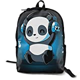 Gym Picnic Running Backpack Daypack Durable Polyester Multipurpose Anti-Theft Rucksack Large Capacity Casual College School Daypack Shoulder Bag, White And Black Panda Animal Headphones Music