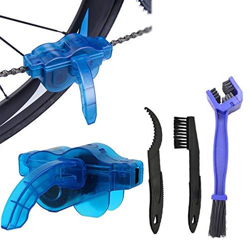WULINBIN Kit de Limpieza de Cadena de Bicicleta Cepillo de Cadena de Bicicleta Cepillos de Limpieza para Bicicletas Bicicleta limpiando la Cadena para Bicicleta de Carretera MTB Todo Tipo de 4 Piezas