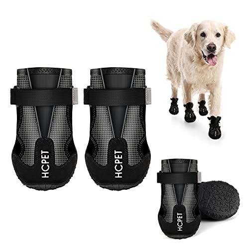 voopet Dog Boots Paw Protector Waterproof Dog Shoes with Reflective Nylon Elastic Straps to Adjust Tightness Non Slip Outsole Safety & Comfortable for Hiking Trail Running & Backpacking 4Pcs/Set
