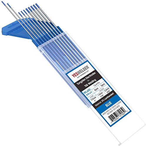 "TIG Welding Tungsten Electrode 2% Lanthanated 5pk 1/16"" & 5pk 3/32"" by 7"" Assorted-size (Blue, EWLa-2) YESWELDER"
