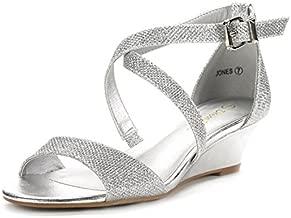 DREAM PAIRS Women's Jones Silver Low Wedge Pump Sandals Size 9 M US