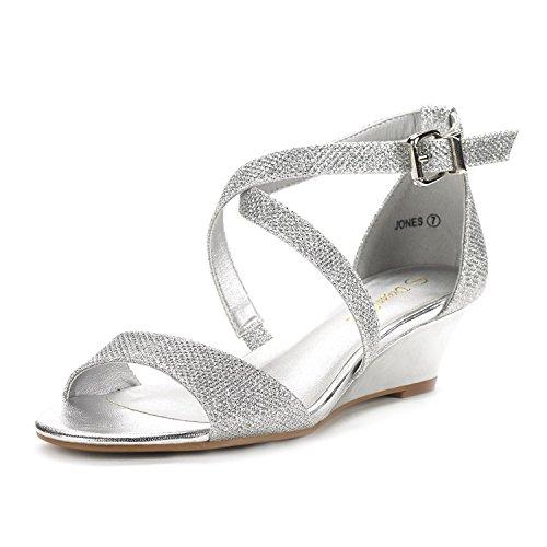 DREAM PAIRS Women's Jones Silver Low Wedge Pump Sandals - 8.5 M US