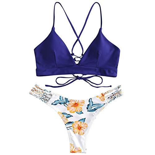 ZAFUL zweiteilig Bikini-Set mit Flechtgurt verstellbarem BH Push-Up Rücken, Triangle Bustle Badehose mit Blummenmuster (Blau, L)