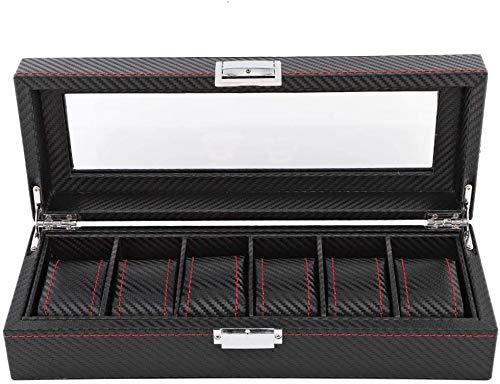 12 Slot Caja para Relojes de Fibra de Carbono, Organizador de Relojes para Hombres, Caja para Relojes y Joyas piel sintética, color negro (33 x 12 x 8,5 cm)