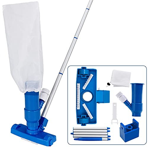 Deuba® Reinigungsset Pool Set Schwimmbecken Zubehör | Vakuum Sauger + Auffangbehälter | variabel verlängerbare Stange | einfach im Handling