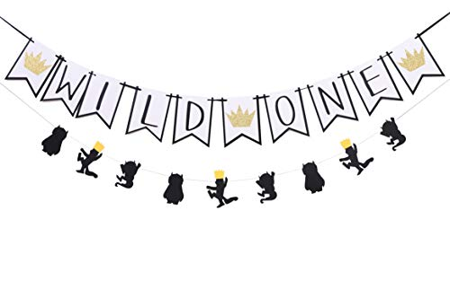Cooper Live Wild One Banner - Wild One Year Old Birthday Wall Background Decorative Banner, Wild Things Wreath Happy 1 Birthday Party Supplies, Bohemian Tribal Theme Party (Wild ONE Banner)