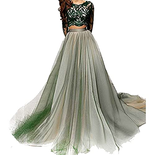 LastBridal Women Lace Long Sleeves Two Piece Prom Dresses Long 2018 Formal Party Evening Gown LB0139 US 2 Green