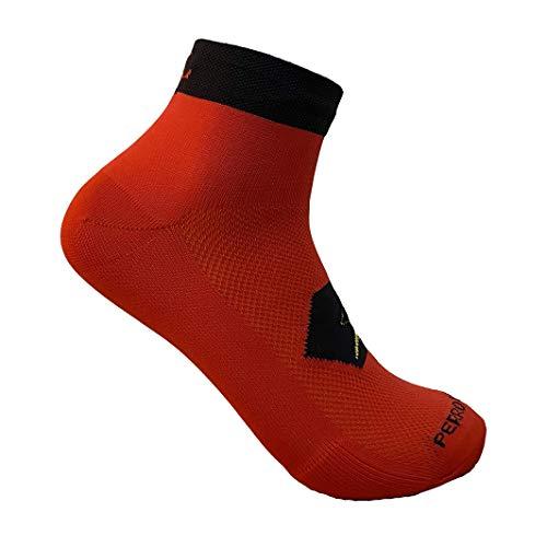 PERRO LOCO Calcetines Cortos para Correr técnicos Coolmax. Calcetines Tobilleros Running. Edición Limitada. Diseñados en Murcia. Fabricados en España. (Rojo, 43-45)