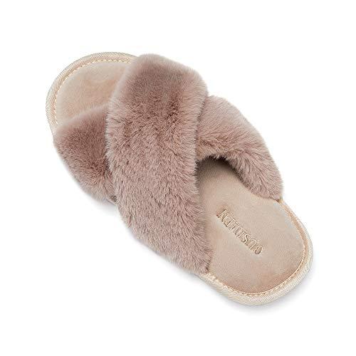 SYKT Zapatillas de Casa para Mujer Zapatillas de Felpa Pantuflas Cruzadas peludas Suave Cómoda Sandalia Plana Punta Abierta Antideslizante Interior Exterior Invierno Verano Interior/Exterior Zapatos