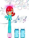 Toyssa Macchina per Bolle Bambini Bolle di Sapone Sirena Automatico Spara Bolle di Sapone Pistola Bolle di Sapone con Luce Musica Giochi da Giardino per Bambini Giochi da Esterno