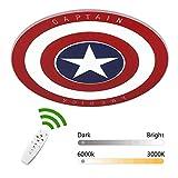 Deckenleuchte LED Kreativ Kinderzimmer Dimmbar Fernbedienung Marvel Captain America Rund Modern...