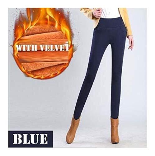 Leggings de invierno Mujeres Tallas grandes Cintura alta Estiramiento Legging grueso Sólido Flaco Cálido Terciopelo Lápiz Pantalones Pantalones de dama Run ( Color : Navy blue , Size : 3XL-Large )