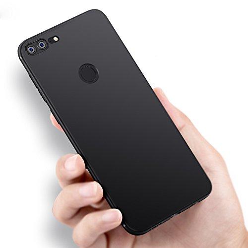 Vooway Nero Sottile Silicone Morbido TPU Custodia Cover Slim Case + Pellicola Protettiva per Huawei Honor 9 Lite (5.65') MS50139