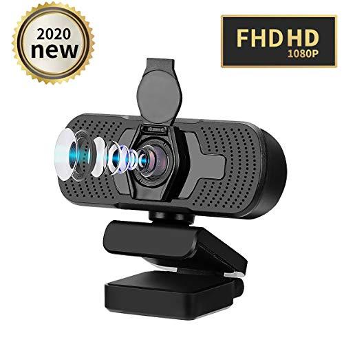 KKUYI 1080P HD Webcam mit Mikrofon und Abdeckung, Webkamera für Computer 90 ° Weitwinkel und Autofokus, PC Webcam USB für Spiele, Videos, Meetings, Lernen, Live-Streaming, Plug & Play, 360 ° Drehung