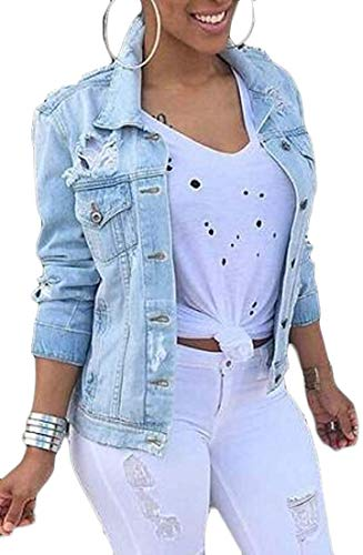 SLLI Women Casual Button Down Ripped Distressed Denim Jacket Jean Coat,Light Blue,Large